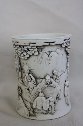 4003: Chinese White Bis Vase/Brush Pot