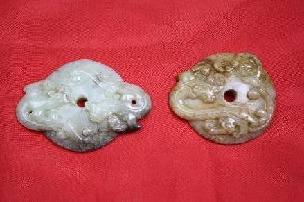 4017: Chinese carved jade two pieces Bi disks