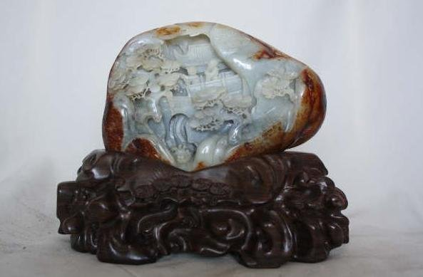 4130: Chinese Carved White Jade Boulder