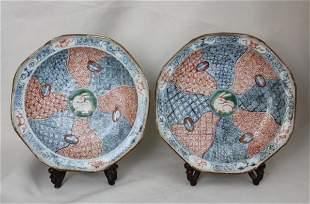 A Pair of Chinese Famille-verte porcelain Plate
