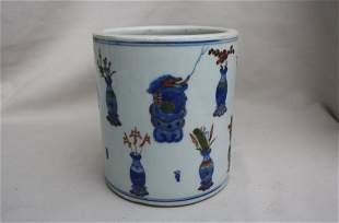Chinese famille-rose Porcelain Brush Pot