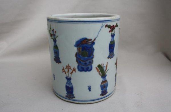 5010: Chinese famille-rose Porcelain Brush Pot