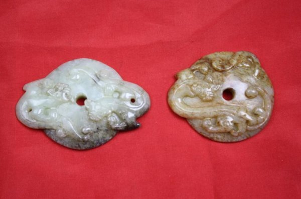 5020: Chinese carved jade two pieces Bi disks