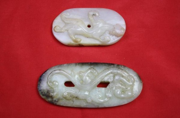 5022: Chinese Carved Jade Two Pieces Items