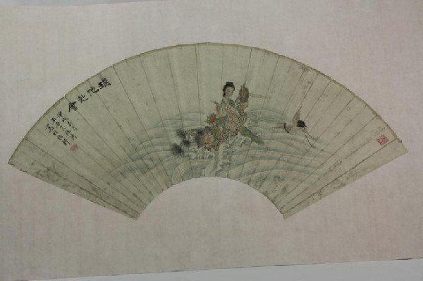6001: Chinese Fan Shape Decorative Painting