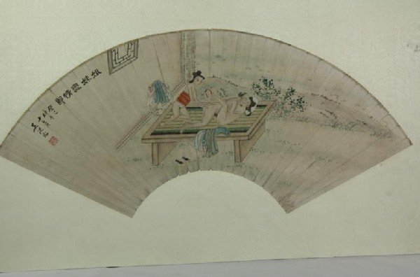 6003: Chinese Fan Shape Decorative Painting