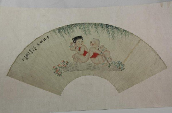 6004: Chinese Fan Shape Decorative Painting