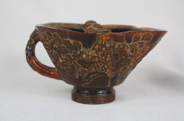 6022: Nice Carved Horn Libation Cup With Handle