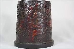 Horn Carved Brush Pot