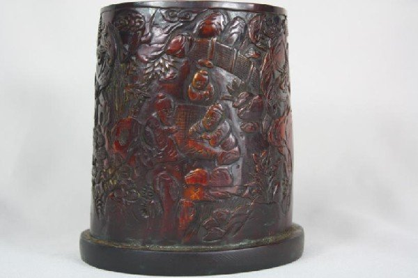 6023: Horn Carved Brush Pot