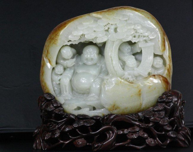 1597: Chinese Carved White Jade Boulder
