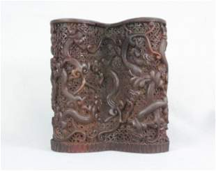 Chinese Archaistic Horn Pen Holder
