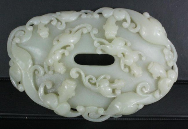 1016: Chinese carved White Jade Bi Disks
