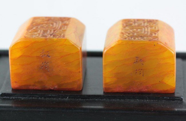 1019: A Pair of Chinese Tian-huang Stone Seal