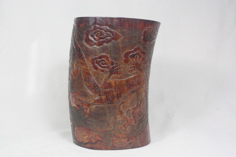 1015: Chinese Archaistic Horn Brush Pot