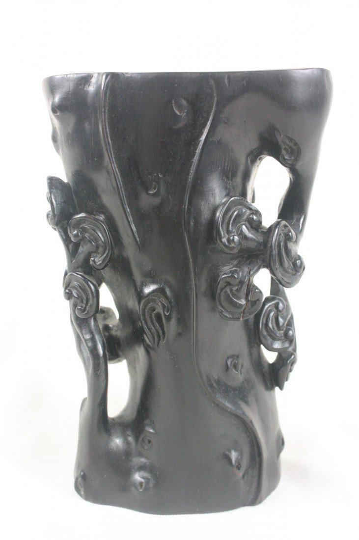 20: Chinese Carved Zitan Wood Brush Holder