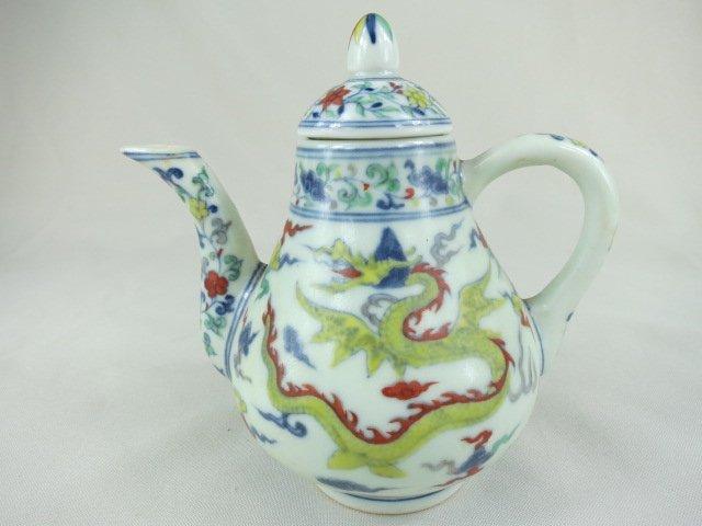 Chinese Doucai Porcelain Teapot