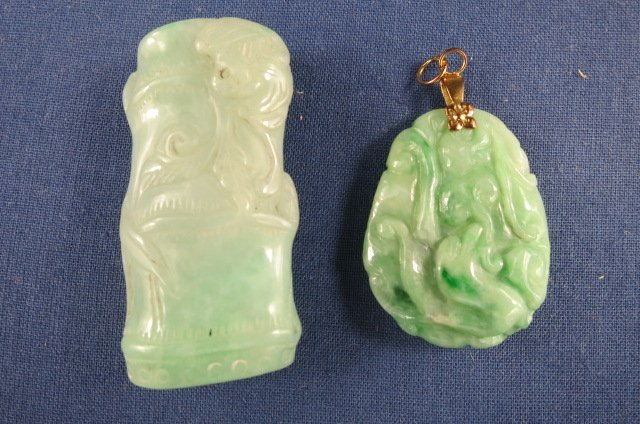 Two Chinese Jadeite Pendant