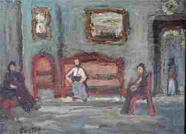 CASTEL, MOSHE MOSHE CASTEL Signed Oil Painting Israeli