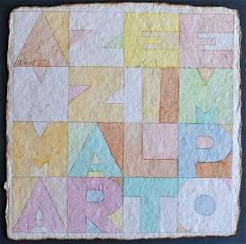 ALIGHIERO BOETTI Unique Hand Signed Watercolour  1979