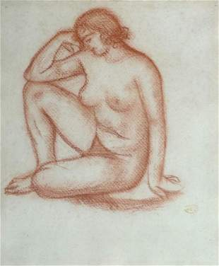 ARISTIDE MAILLOL Signed Sanguine Drawing Nude 1905