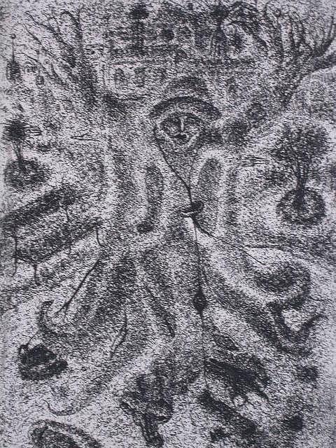 11142: ERICH BRAUER Etching Surrealism Austrian