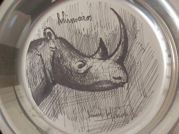 11157: BERNARD BUFFET Silver Plate Rhino 1977
