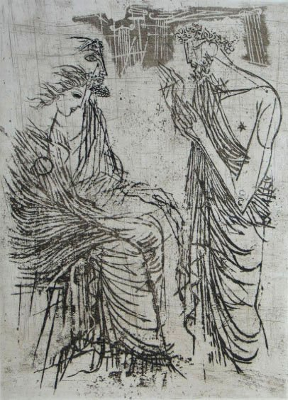 11392: J.FRIEDLAENDER H.Signed Etching Homer
