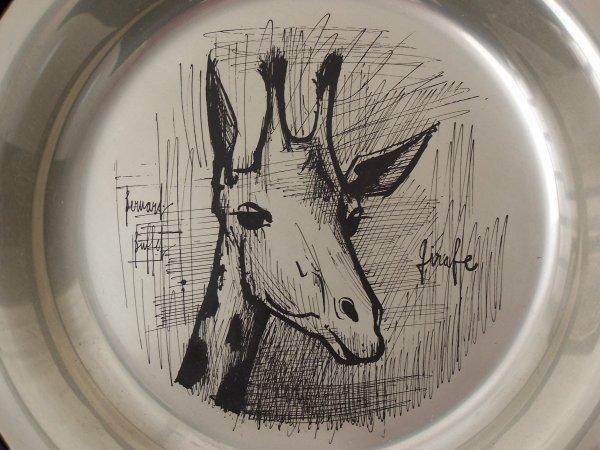 11152: BERNARD BUFFET Silver Plate with Etching Giraffe