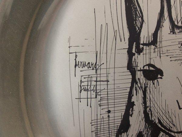 11152: BERNARD BUFFET Silver Plate with Etching Giraffe - 3