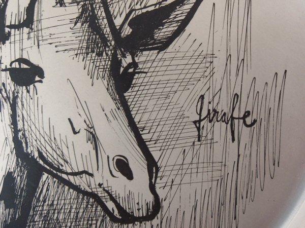 11152: BERNARD BUFFET Silver Plate with Etching Giraffe - 4