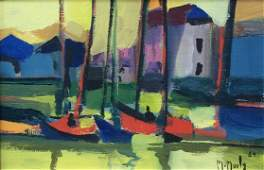 12425: MARCEL MOULY Hand Signed Oil Painting 1984
