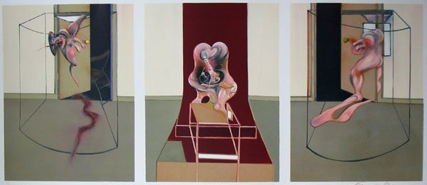 11117: FRANCIS BACON Hand Signed Tryptich Lithograph Br