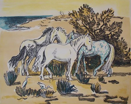 11149: YVES BRAYER H.Signed Lithograph Horses French