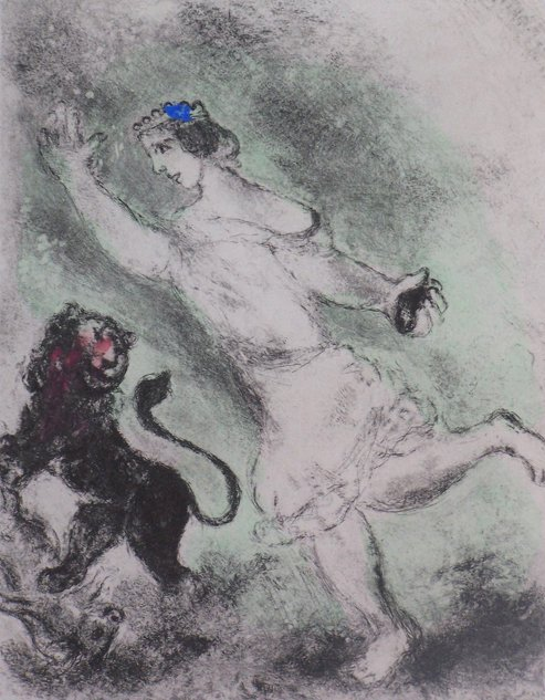 11212: CHAGALL MARC CHAGALL HAND COLORED Etching Bible