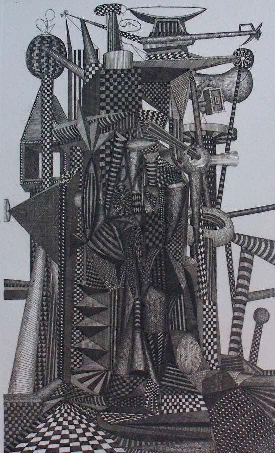 11159: ROLAND CABOT S.Etching Brazilian Abstract