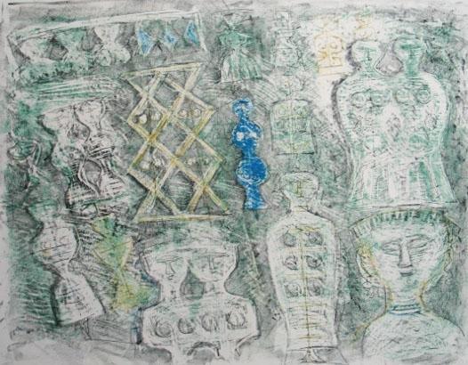 11162: MASSIMO CAMPIGLI H.Signed Lithograph Italian Art