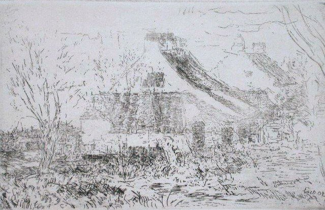 11298: JAMES ENSOR Signed Etching 1888 Belgian