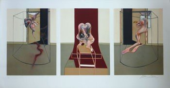 11122: FRANCIS BACON Hand Signed Lithograph British Tri