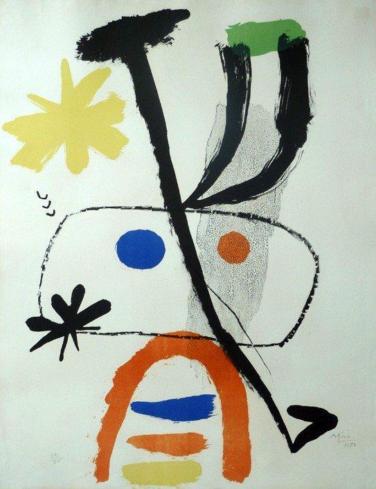 11594: JOAN MIRO H.Signed Lithograph Surrealism 1950