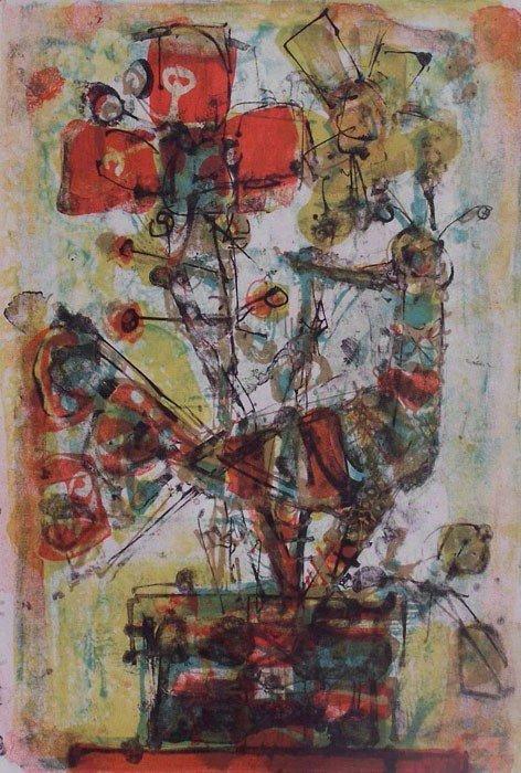 11114: PAUL AIZPIRI Sig.Color Lithograph French