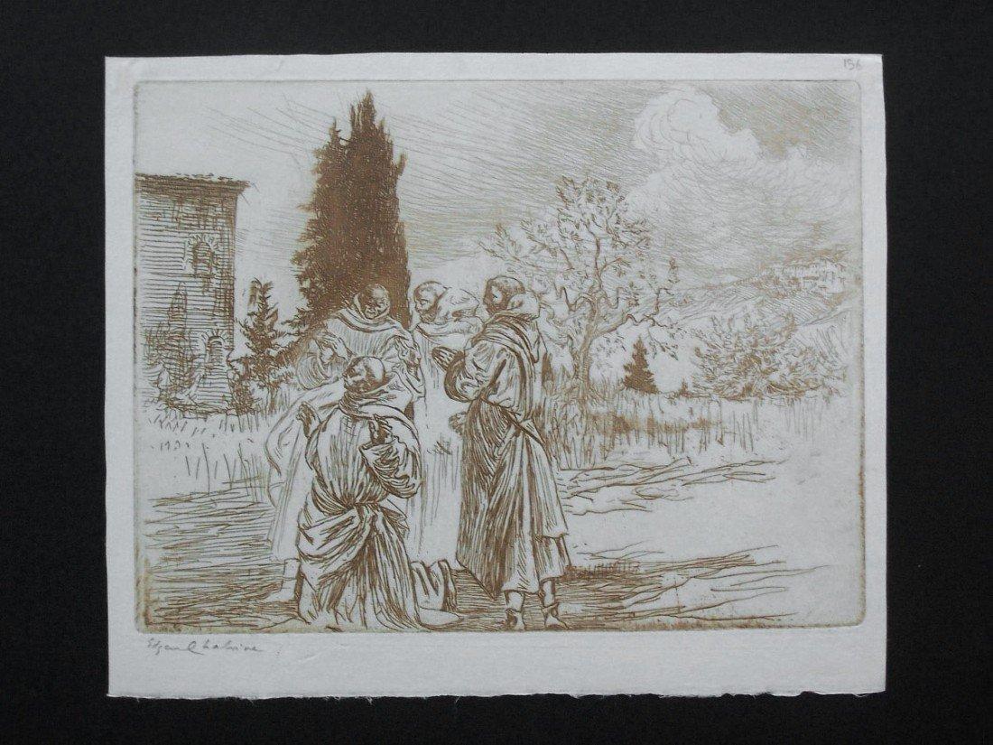 11161: EDGAR CHAHINE Hand Signed Etching Armenian 1906
