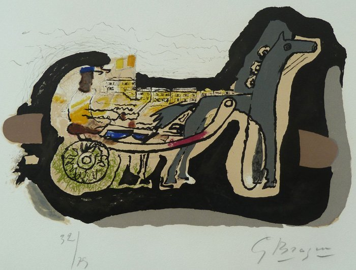 11138: GEORGES BRAQUE Hand Signed Litho Cubism 1960