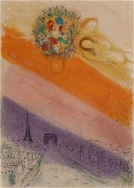 11214: CHAGALL H.Signed Lithograph Champs Elysees 1954