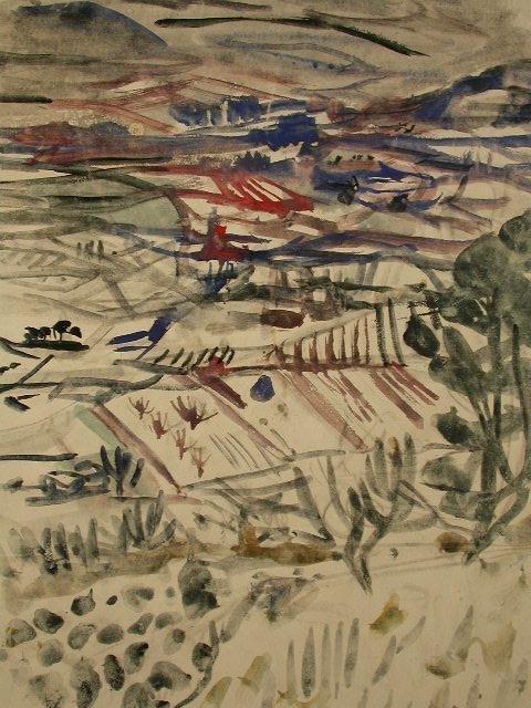 16130: BLOMBERG Signed Watercolor Swedish