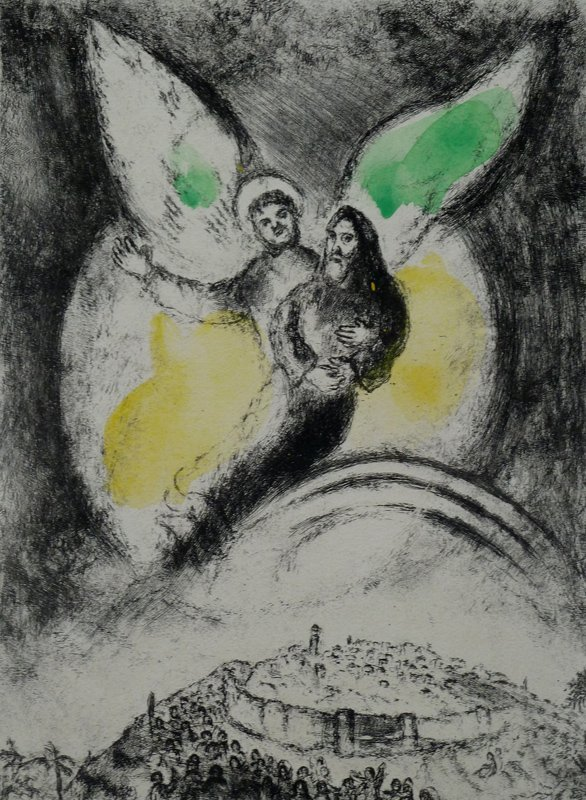 11181: MARC CHAGALL Etching Hand Colored and Hand Signe