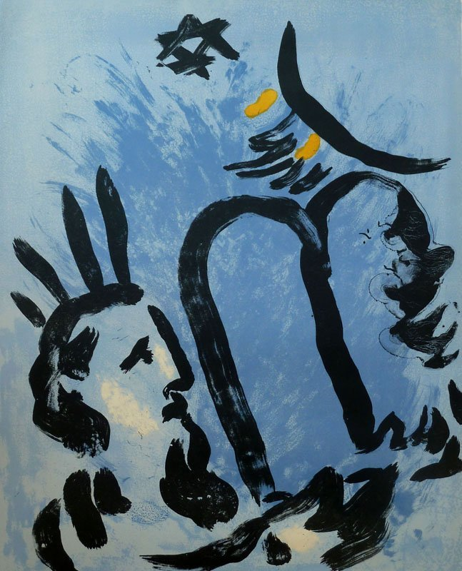 11194: CHAGALL Hand Signed Lithograph Moses Judaica Jew