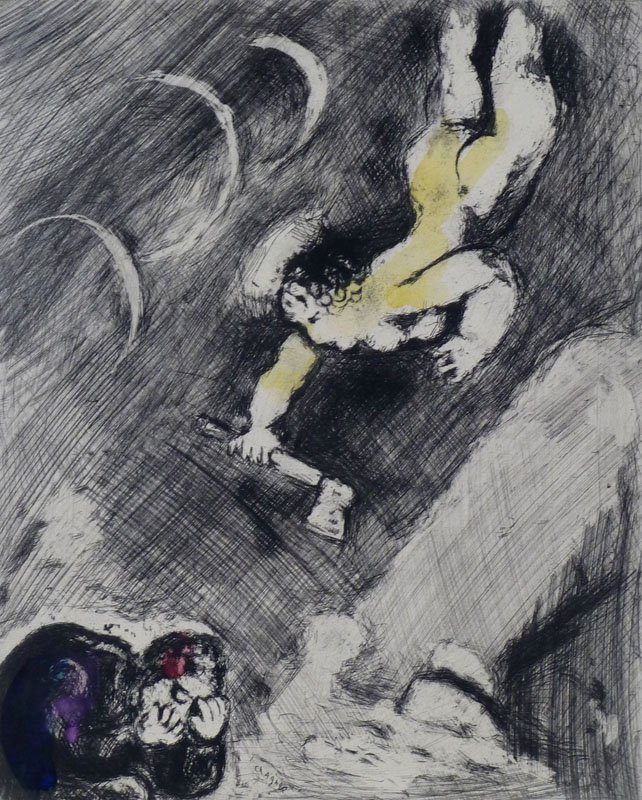 11197: MARC CHAGALL Hand Colored Etching Fable Fontaine
