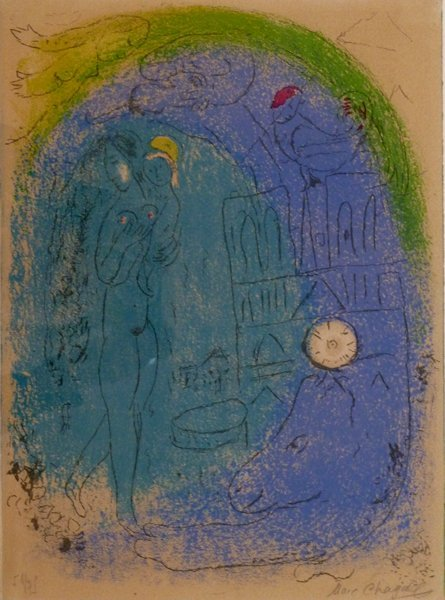 11210: CHAGALL H.Signed Lithograph Mother and Child 195