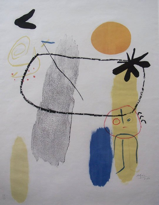 11591: JOAN MIRO Signed Color Lithograph Surrealism Spa